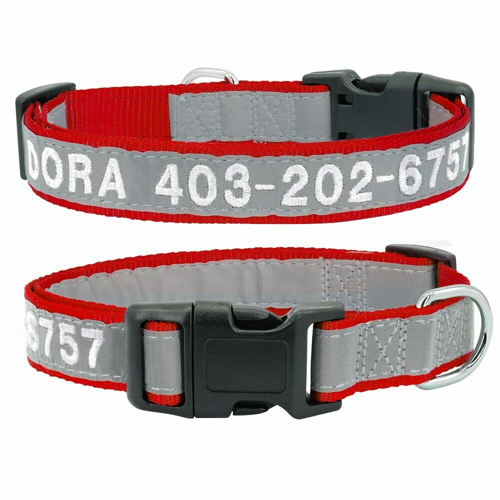 Personalised Reflective Dog Collar Customized Embroidery Pet Collar Name Phone