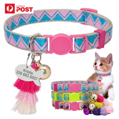 Personalised Cat Collar with ID Tag and Bell Customized Pet Collars Necklace