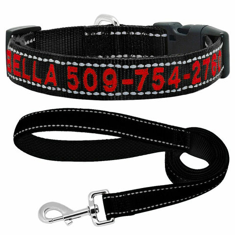 Personalised Reflective Embroidery Dog Pet Collar or Collar Leash Set