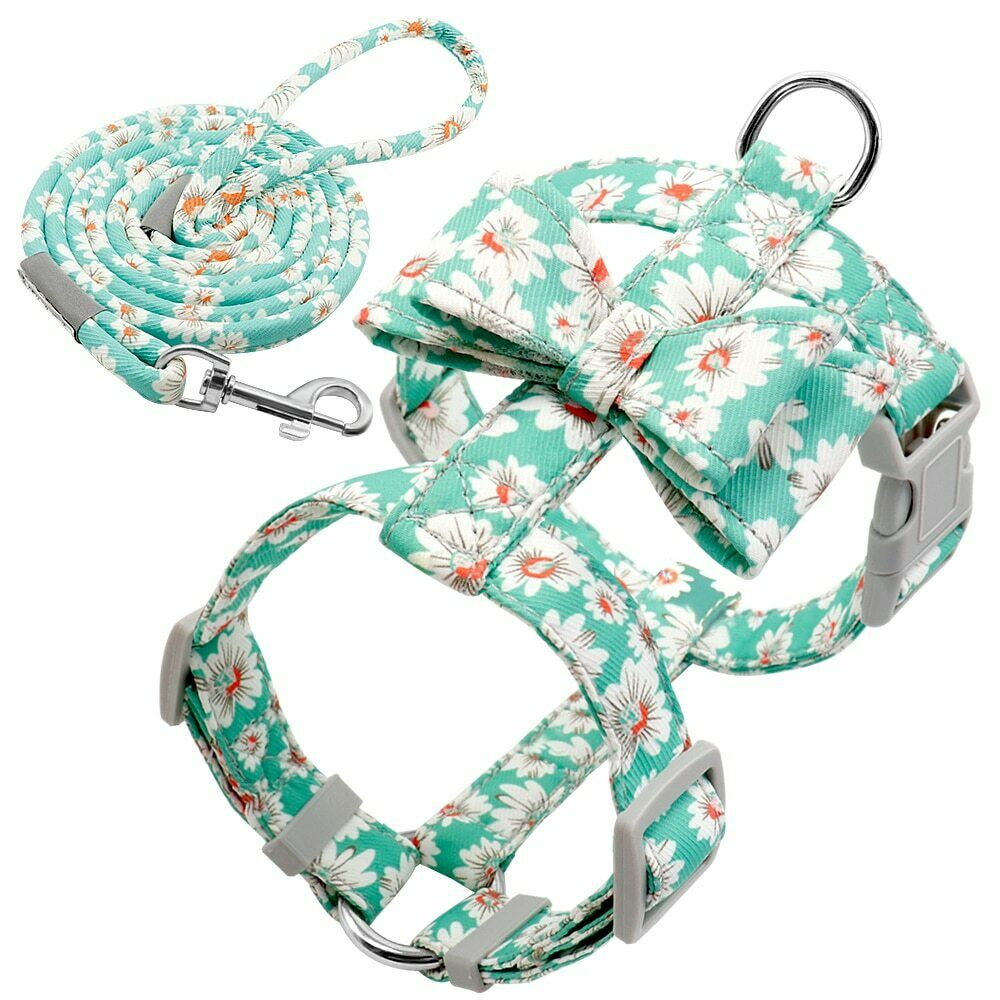 Dog Harness S-M No Pull Printed Adjustable Harness Vest with Leash Lead