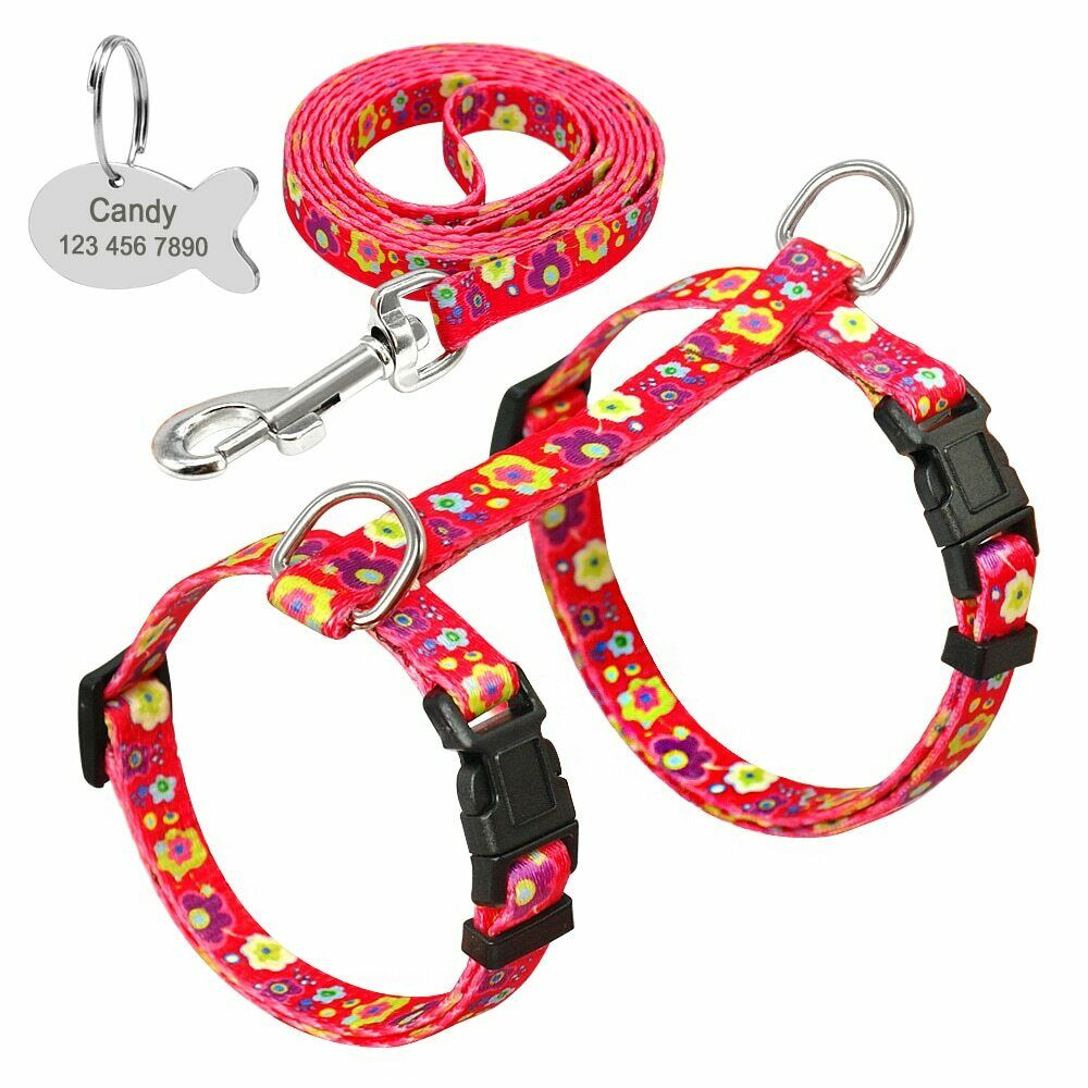 Personalised Nylon Cat Harness and Leash Set With Customized Engraved ID Tag