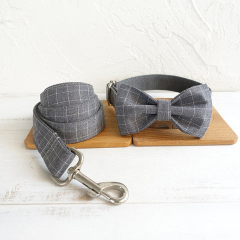 Personalized Laser Engraved Handmade BLUE/GRAY PLAID Dog Collar/Leash/Bowtie Set