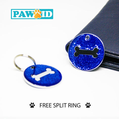 Deluxe Glittery Pet Tag Dog Cat ID Tag with Free Engraving and Free split Ring