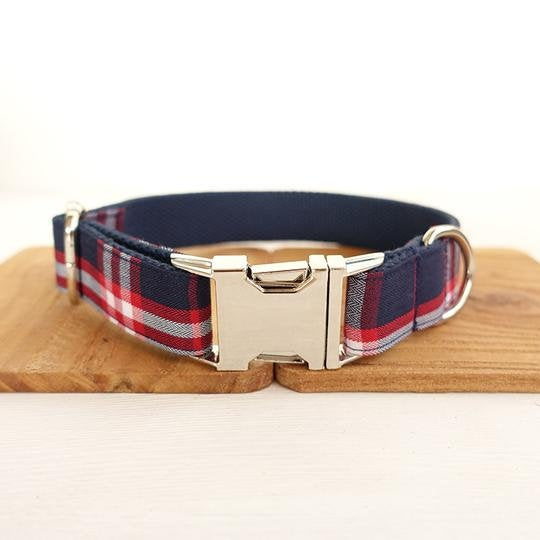 Personalized Laser Engraved Handmade BLUE PLAID Dog Collar / Leash / Detachable Bowtie, different combos available