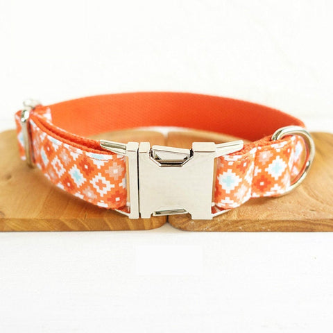 Personalized Laser Engraved Handmade Biscuit Dog Collar/Leash/Bowtie, Different Combo Available