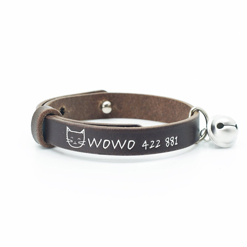 Personalized Engraved Italian Soft Leather Handmade Cat Collar with Bell, 5 Colors
