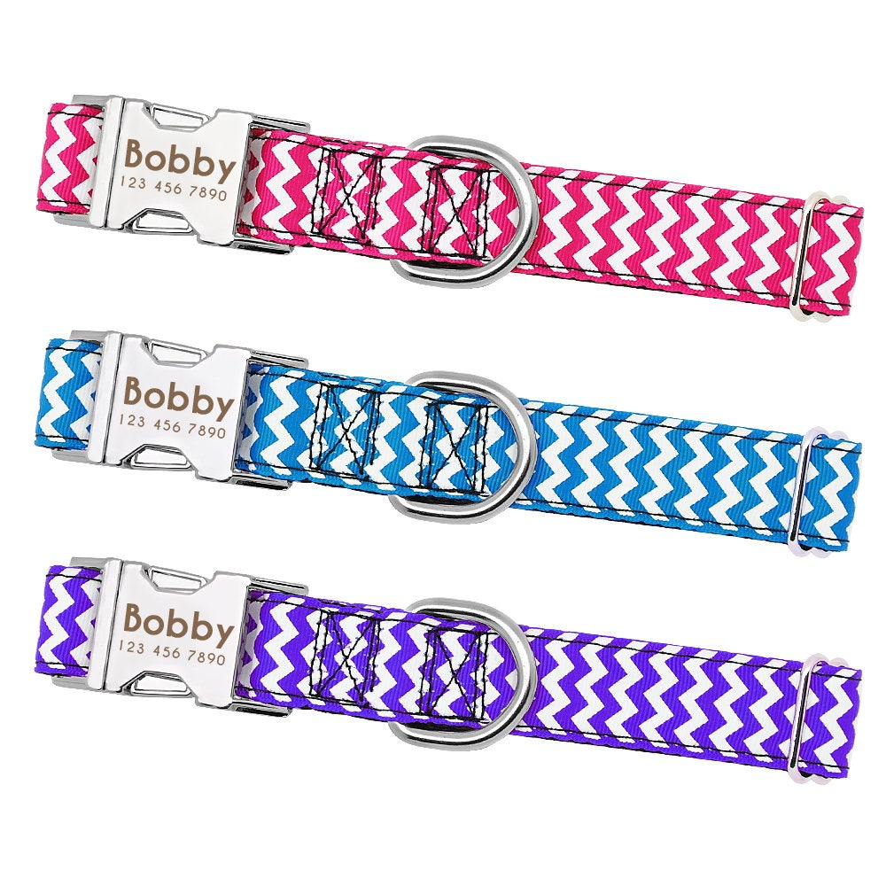 Personalized Laser Engraved Polyester Zigzag Dog Collar Free Custom ID Engraving