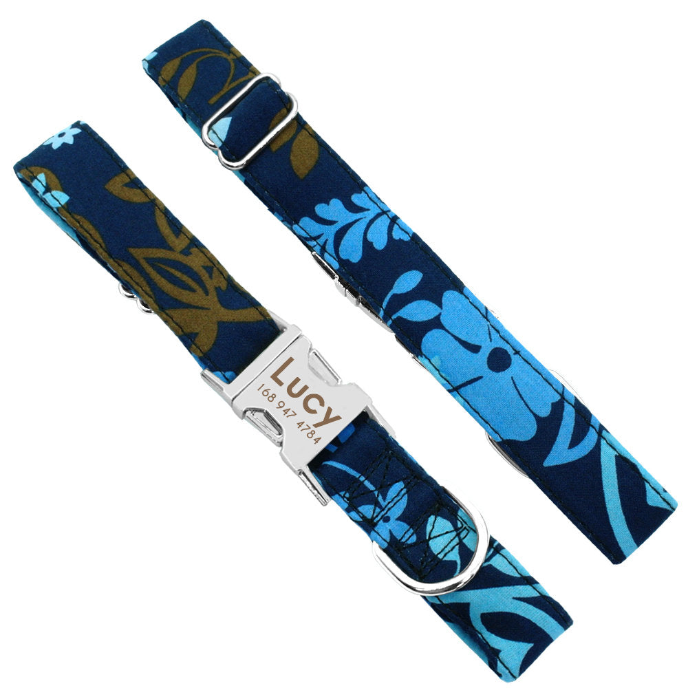Personalized Laser Engraved Nylon Blue Leafy Dog Collar Dog Leash