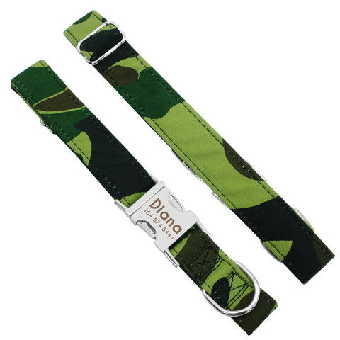 Personalized Laser Engraved Nylon Camouflage Dog Collar Dog Leash