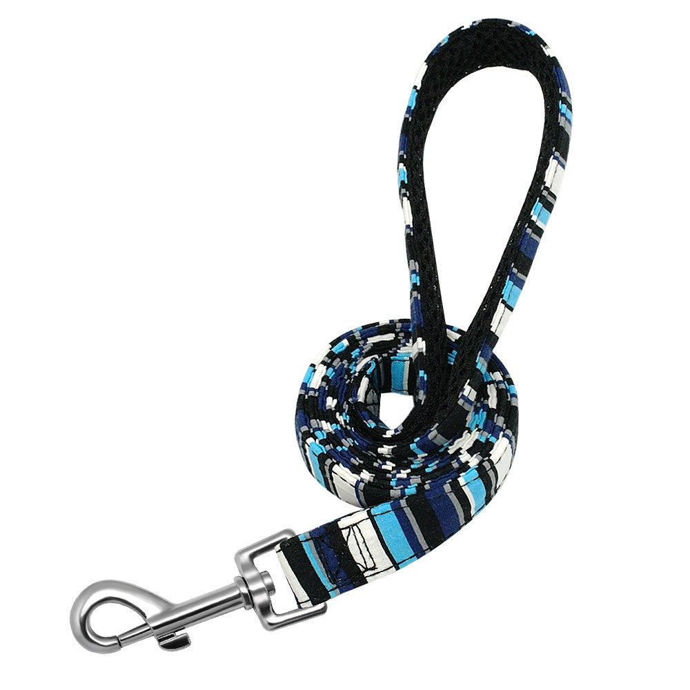 Personalized Laser Engraved Nylon Blue Stripe Dog Collar Leash
