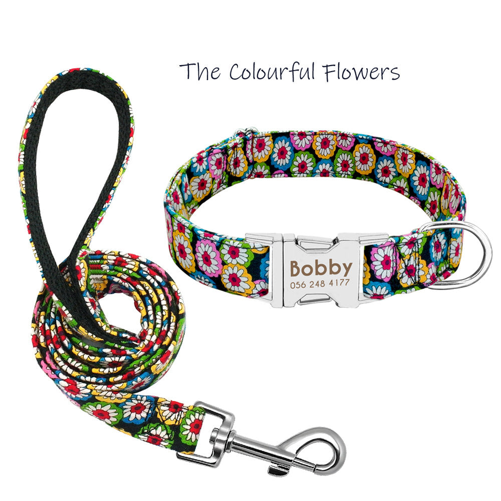 Personalized Laser Engraved Nylon Colourful Flower Dog Collar Dog Leash
