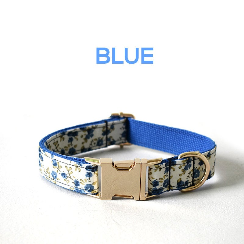 Personalized Laser Engraved Handmade Pink/Blue Floral with DIY Buckles Dog Collar/Leash/Bowtie