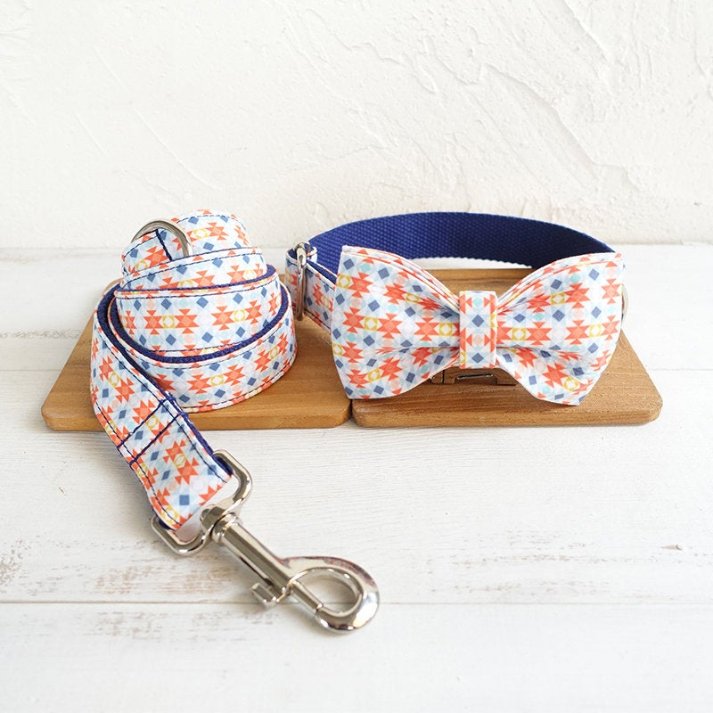 Personalized Laser Engraved Handmade Biscuit Dog Collar/Leash/Bowtie
