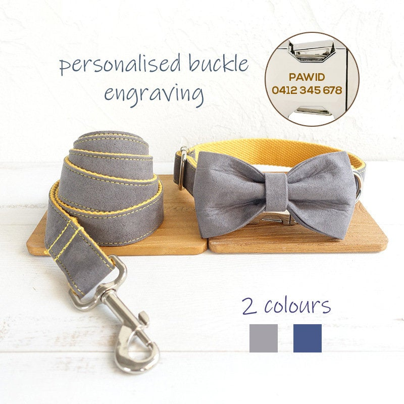 Personalised Laser Engraved Handmade Dog Collar or Leash or Bowtie Set