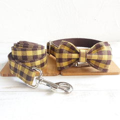 Personalized Laser Engraved Handmade Colourful Buffalo Plain Dog Collar and/or Leash and/or Bowtie (Different Combo)