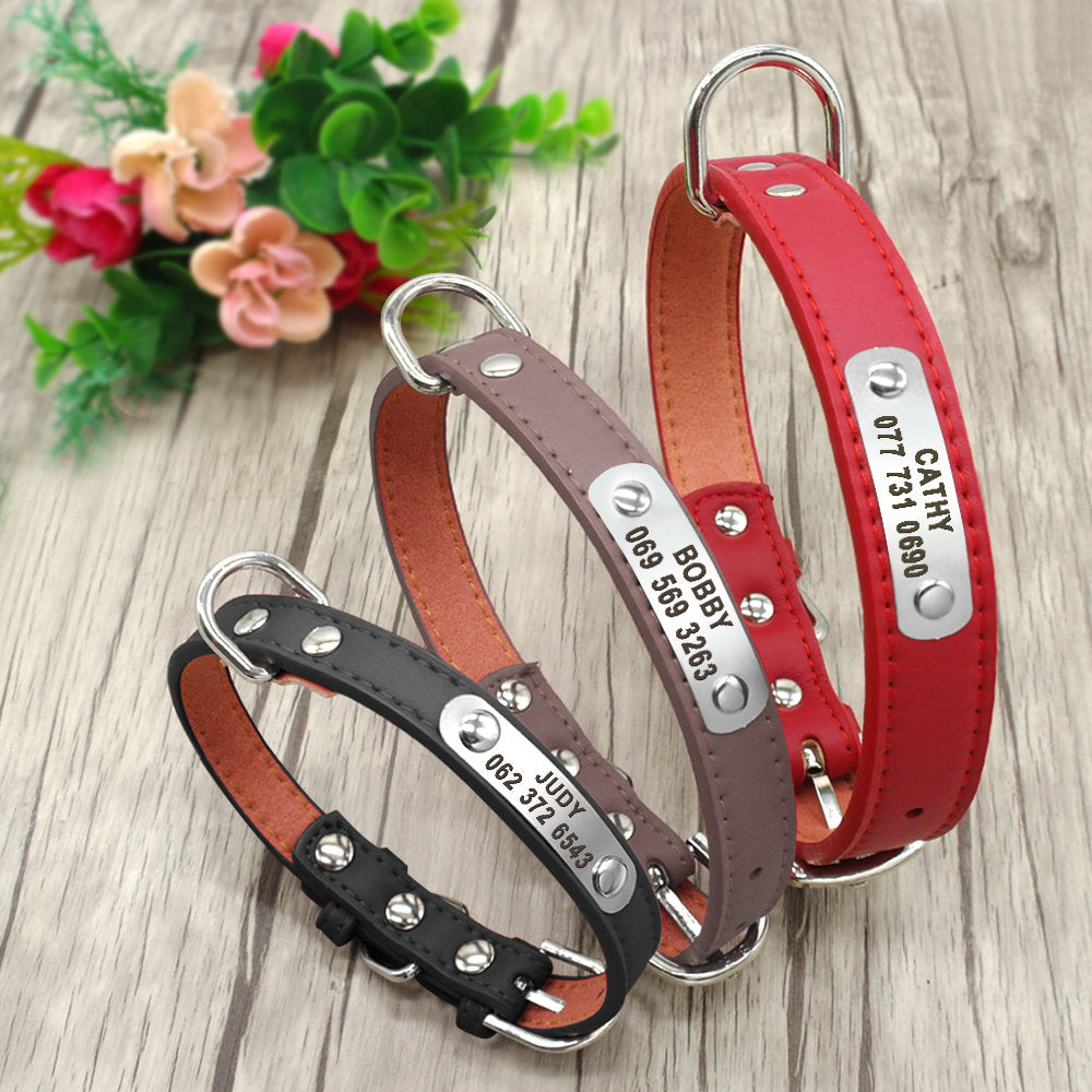 Personalized Laser Engraved Soft PU Leather Dog Collar D Ring