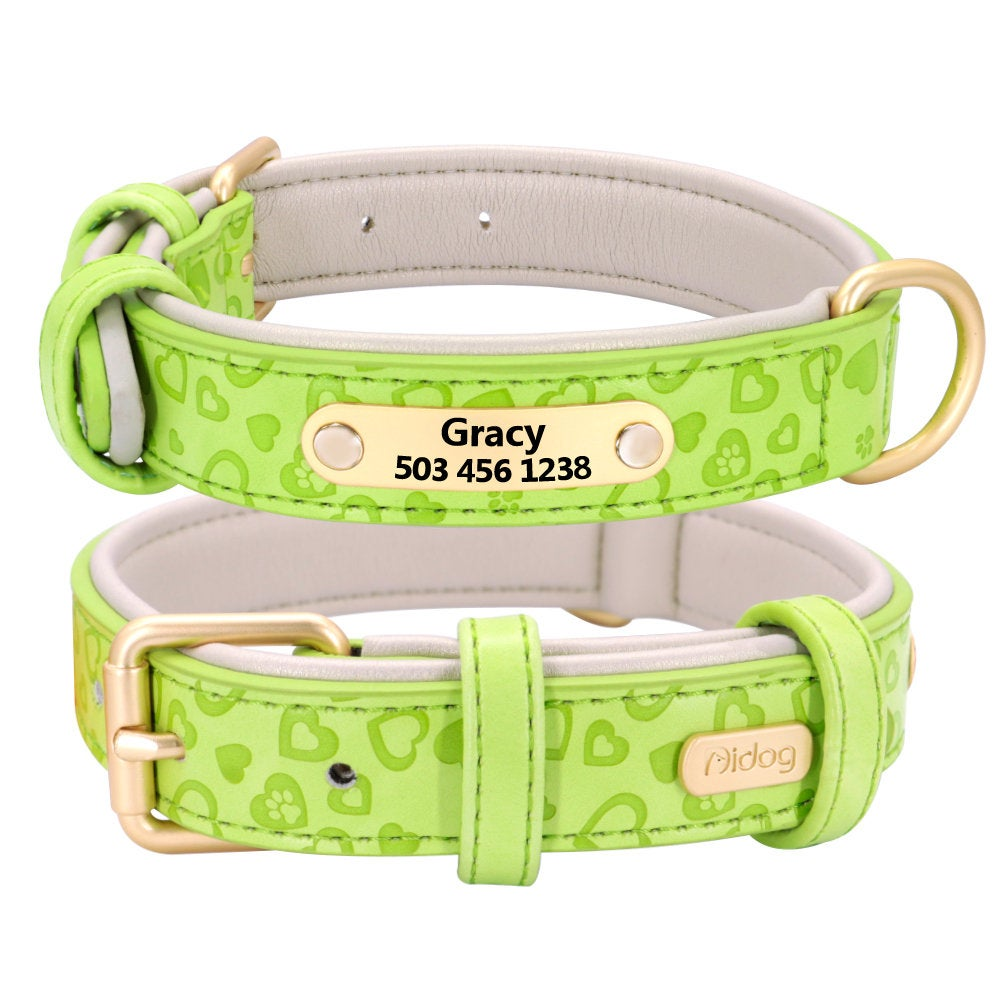 Personalized Laser Engraved PU Leather Padded Dog Collar with Heart Print