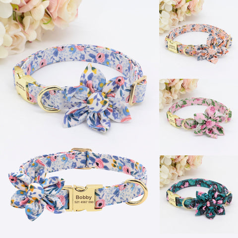 Personalized Laser Engraved Nylon Flower Dog Collar