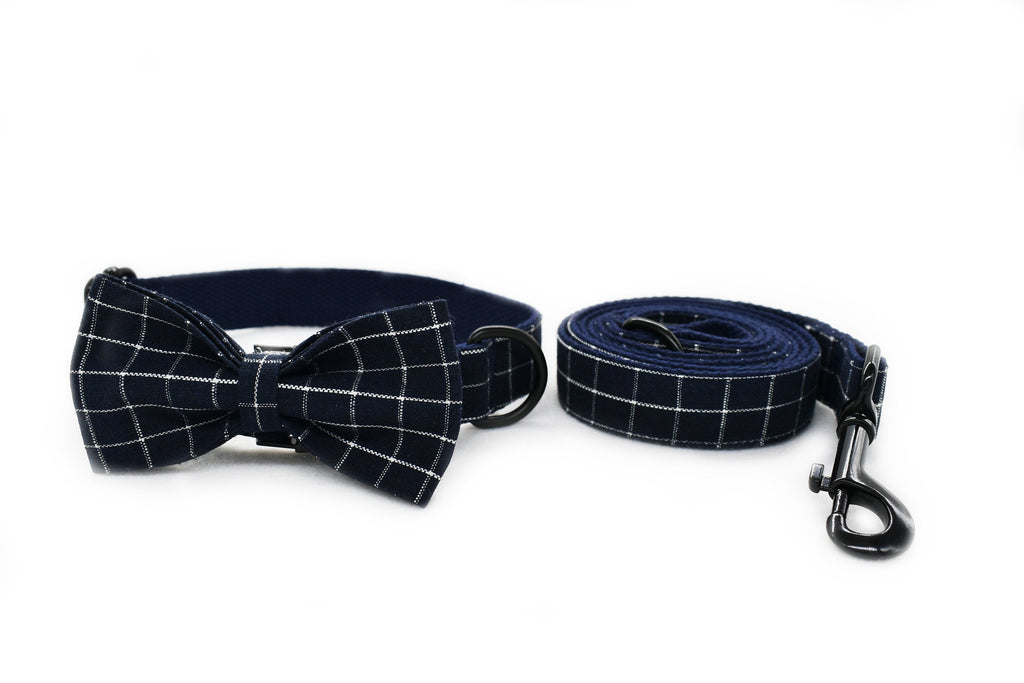 Personalized Laser Engraved Handmade Blue/Gray Plaid Collar with DIY Buckles Dog Collar/Leash/Bowtie, different combo