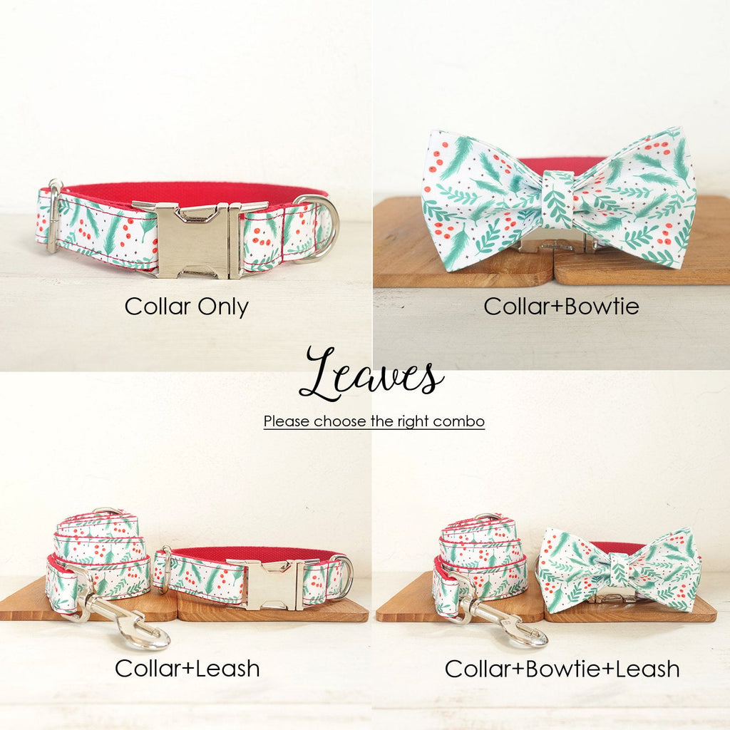 Personalized Laser Engraved Handmade Joyful Christmas Collar/Leash/Bowtie, Different Combo