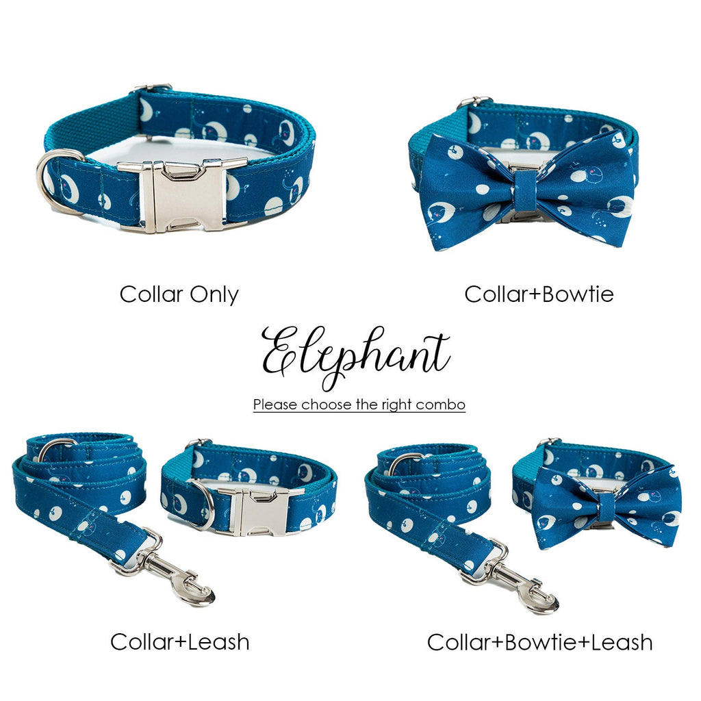 Personalized Laser Engraved Handmade Blue Nature Dog Collar/Leash/Bowtie, Different Combo