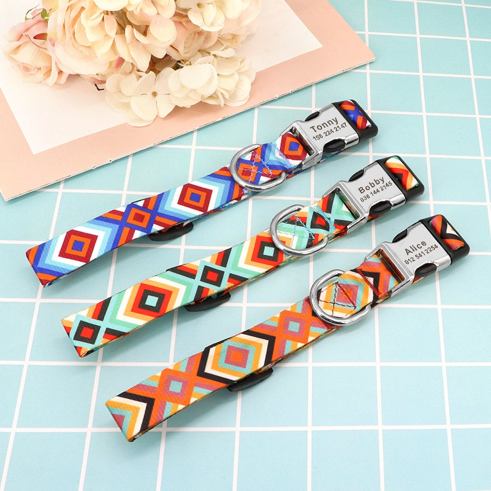Personalised Laser Engraved Vibrant Diamond Pattern Dog Collar Lightweight buckle Free Pet ID Engraving