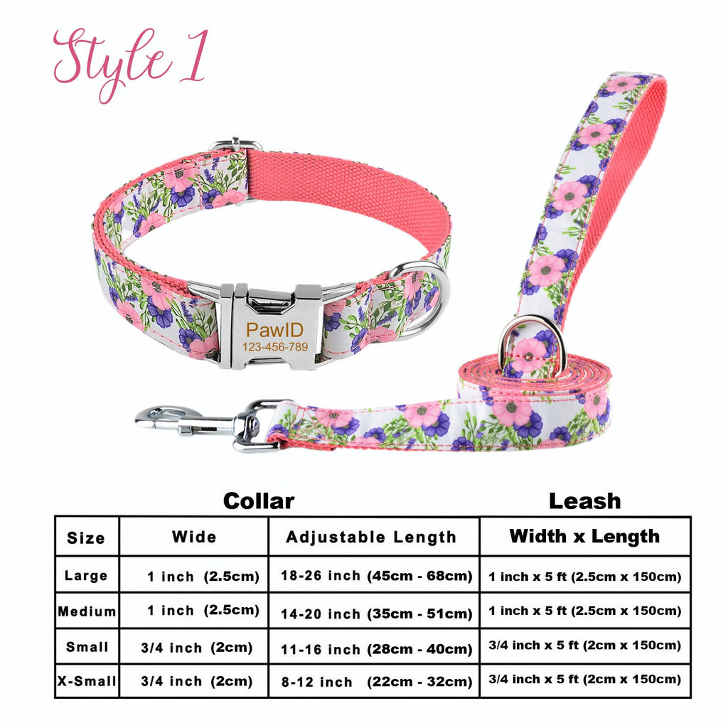 Personalized Laser Engraved Nylon Floral Dog Collar 5ft Leash Set + Free Engraving