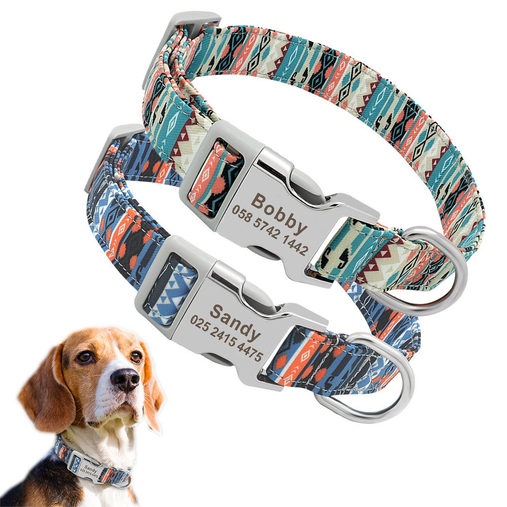 Personalised Laser Engraved Nylon Folk Style Dog Collar Lightweight buckle