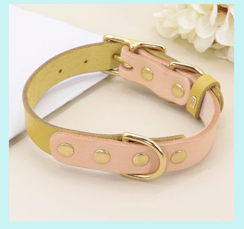 Personalized Laser Engraved Colourful Soft Genuine Leather Cat Dog Small Pet Collar, Dog ID Tag, Cat ID Tag