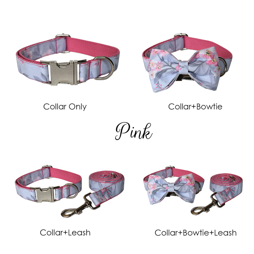 Personalized Laser Engraved Handmade Ink Flower Pattern with DIY Buckles Dog Collar/Leash/Bowtie (different combo available)