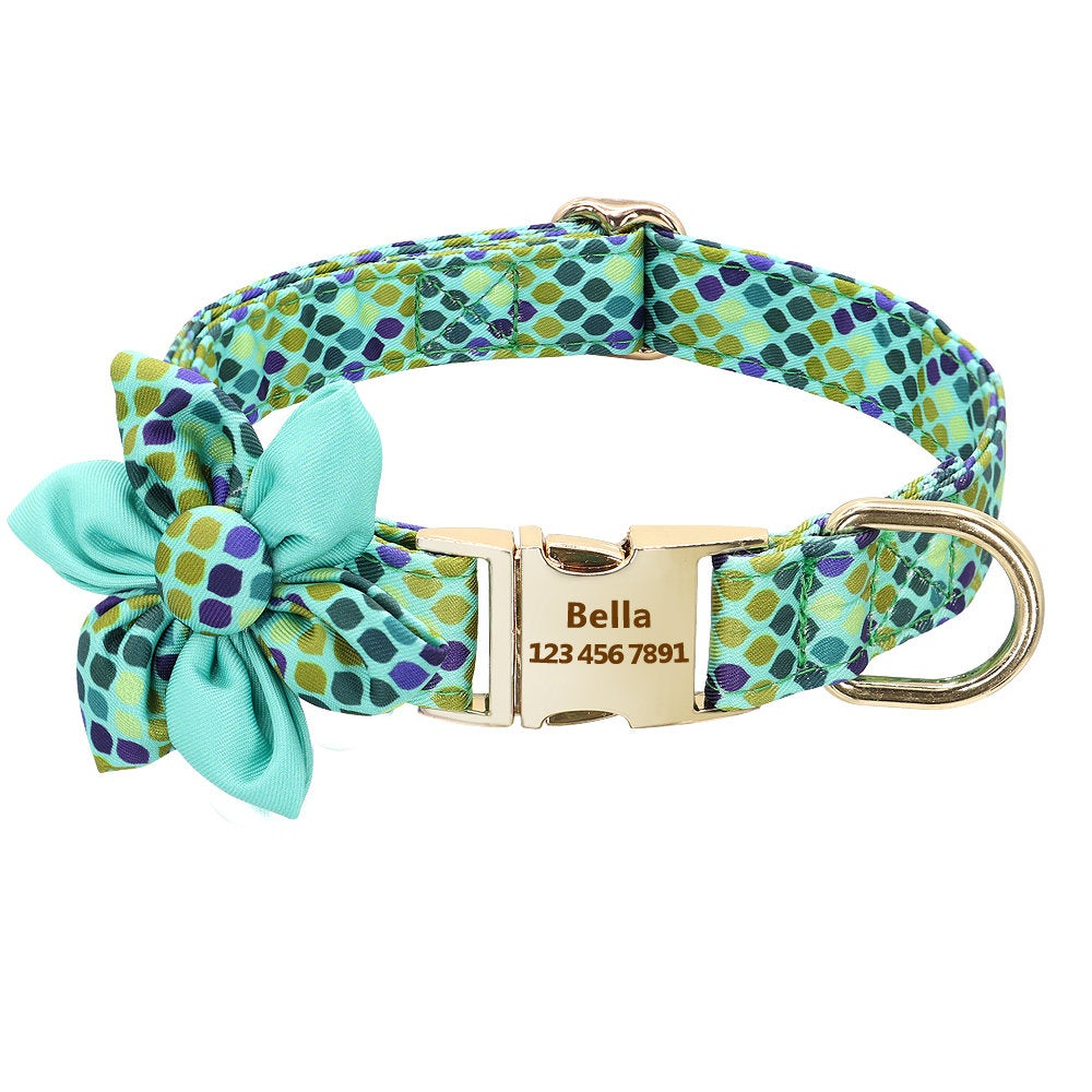 Personalized Laser Engraved Nylon Glittery Pattern Flower Dog Collar / Leash, Different Combo Available