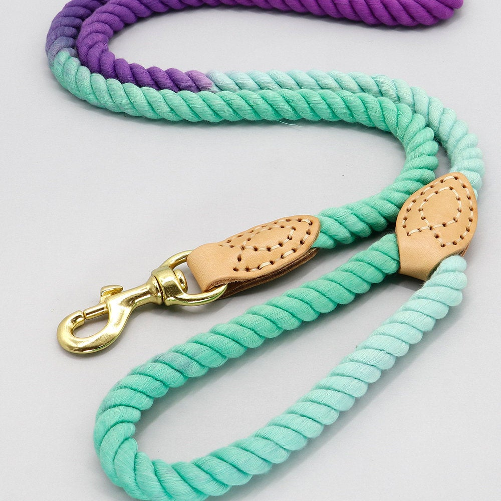 Handmade Braided Eco-Friendly Dream Colourful Cotton Leather Dog Leash 5ft/150cm