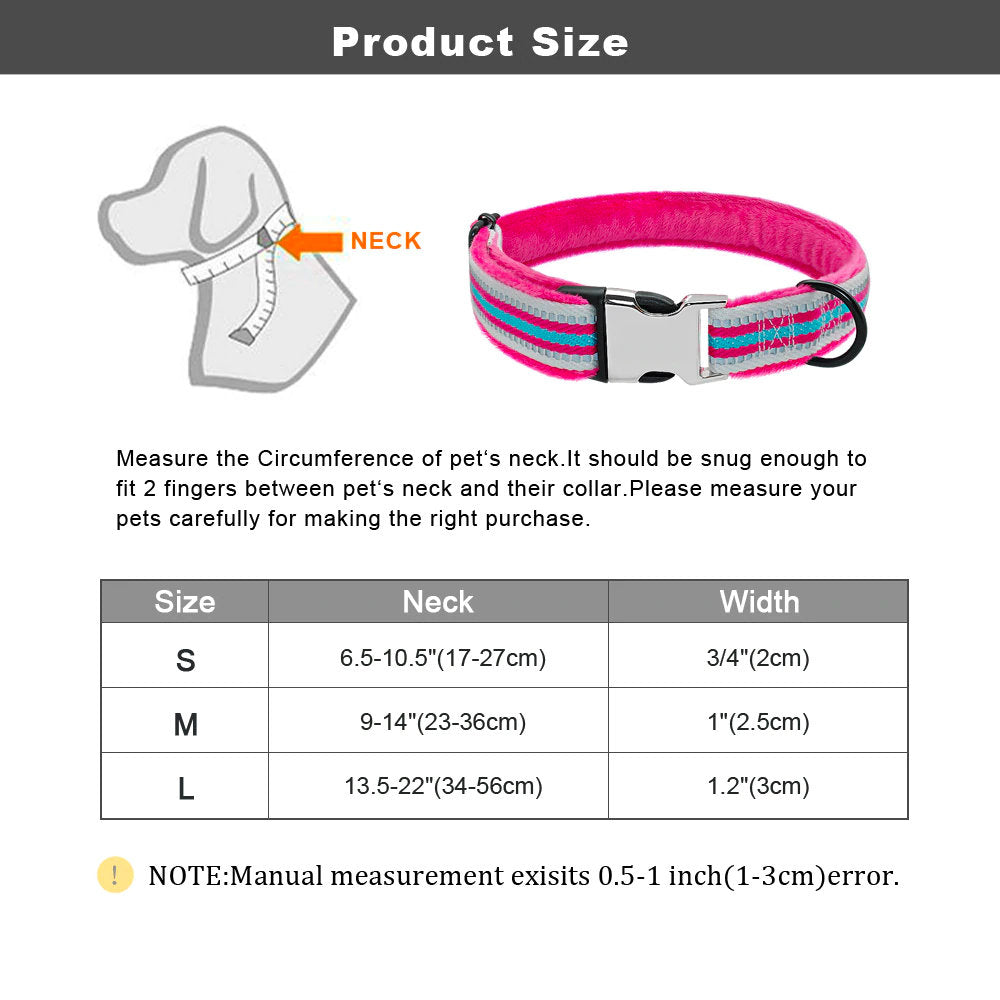 Personalised Laser Engraved Nylon Stripy Reflective Fur Padded Custom Dog Collar or/and Leash(w/seat-belt attachment), or/and Dog Harness
