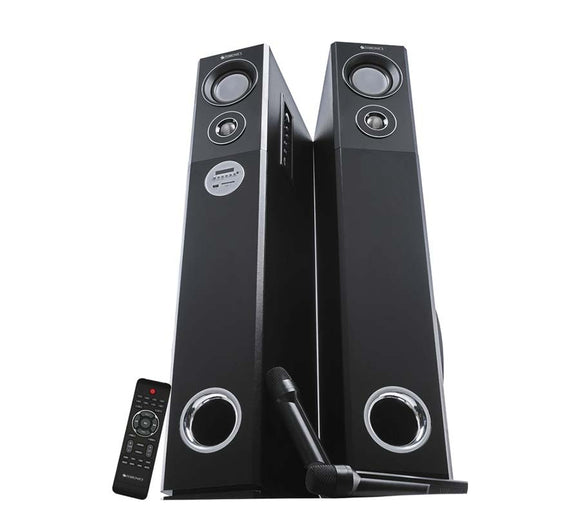 Zebronics ZEB-BT9500RUCF (Tower Speaker) - 100 Watts RMS with 2 Wireless Mics with Bluetooth ( One year Manufacturer Warranty) - Tulip Smile
