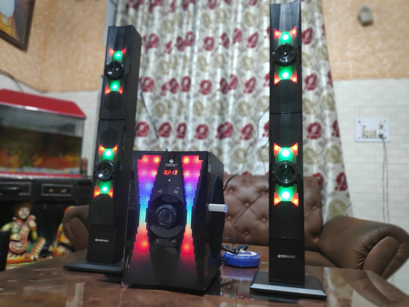 Zebronics Zeb-Sky 2.1 floor standing speaker | RGB light | deep bass | Wireless BT / USB / SD / FM / AUX