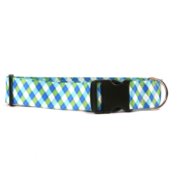 2 Inch Wide Argyle Blue Green Dog Collar, fits 18-28 inch necks