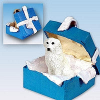 GREAT PYRENEES GIFT BOX BLUE ORNAMENT