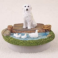 "GREAT PYRENEES CANDLE TOPPER TINY ONE ""A DAY ON THE LAKE"""