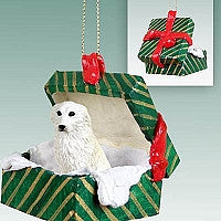 GREAT PYRENEES GIFT BOX GREEN ORNAMENT