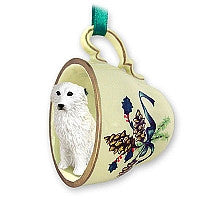 GREAT PYRENEES TEA CUP GREEN HOLIDAY ORNAMENT