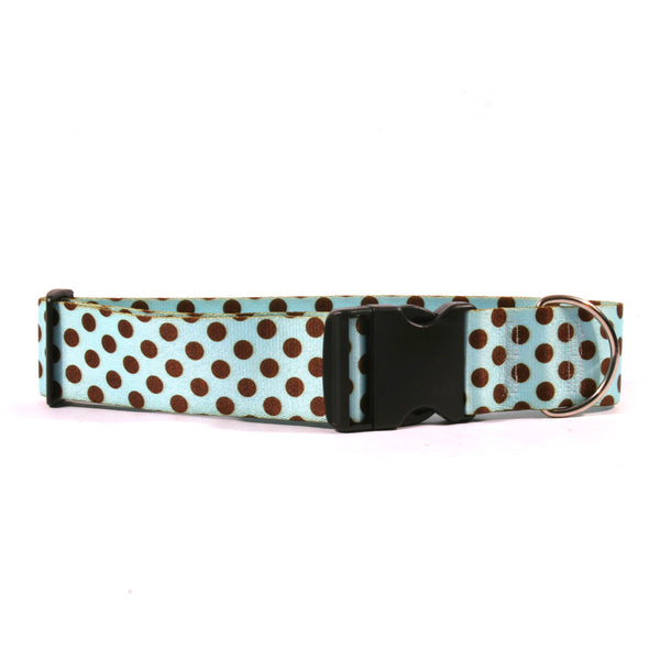 2 Inch Wide Blue/Brown Polka Dot Dog Collar, fits 18-28 inches