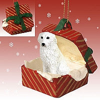 GREAT PYRENEES GIFT BOX RED ORNAMENT