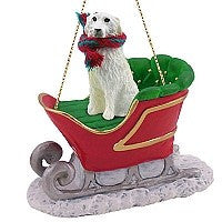 GREAT PYRENEES SLEIGH RIDE ORNAMENT