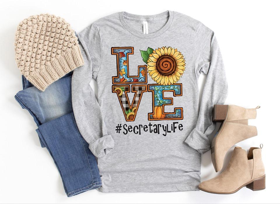 Sunflower Love Secretary-Graphic Tee-Shop-Absolute Paris Boutique-Womens-Clothing-Store