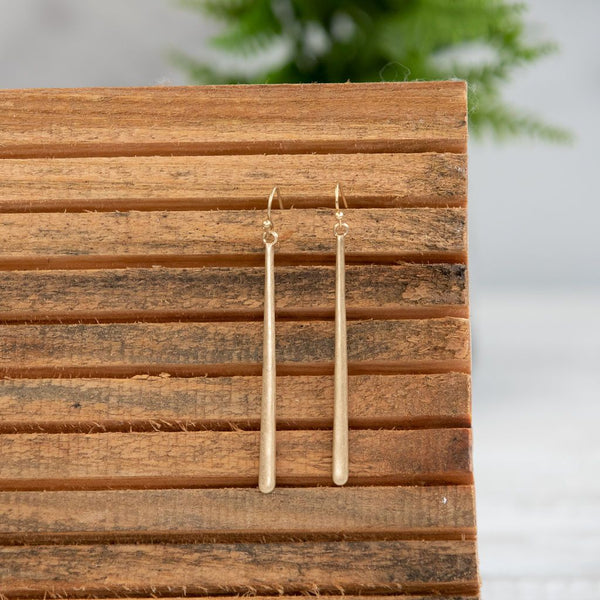 Long Bar Dangle Earring. Available in Silver or Gold.-Earrings-Gold-Shop-Absolute Paris Boutique-Womens-Clothing-Store