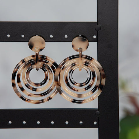 Chloe Blonde Tortoise Multi Circle Drop Dangle Earrings-Earrings-Shop-Absolute Paris Boutique-Womens-Clothing-Store