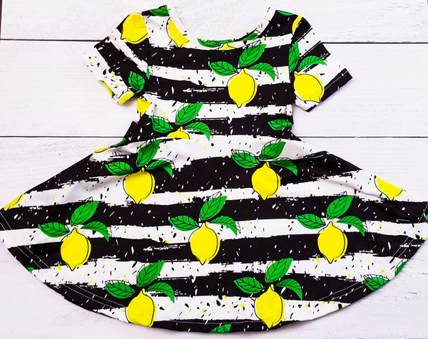 Black and White Lemons Short Sleeve Dress-XXS (12-18mo)-Shop-Absolute Paris Boutique-Womens-Clothing-Store