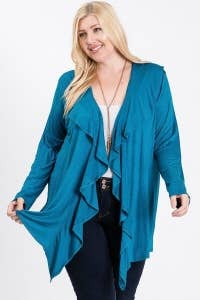 ***ON SALE***Plus Size Open Front Layered Side Tail Cardigan - Absolute Paris Boutique