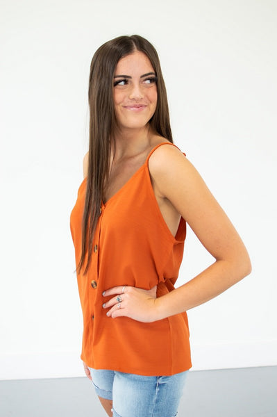 Button Down Tank | 13 Colors!-S-Burnt Orange-Shop-Absolute Paris Boutique-Womens-Clothing-Store