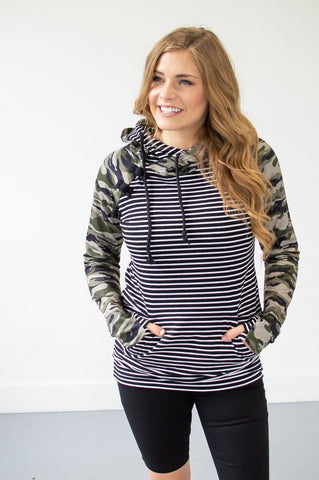 Camo and Stripes Hoodie | Nursing Option Available-Hoodie-Shop-Absolute Paris Boutique-Womens-Clothing-Store